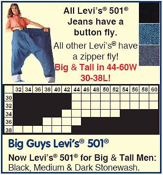 levis 501 big and tall chart