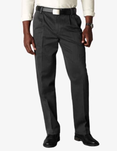 Dockers D3 Classic Fit Pleated Charcoal Heather