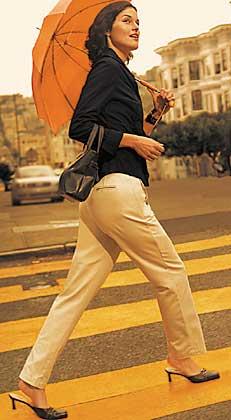 Woman crossing street in Women's Dockers Trousers