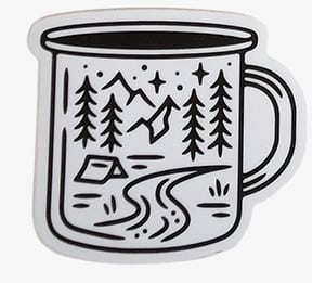 Coffee Cup forest tent river stars Vinyl Sticker