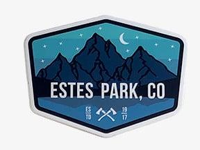 ESTES PARK, CO ESTD crossed axes Vinal Sticker
