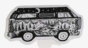 vw van vinyl sticker with night sky mountains rivers trees moon